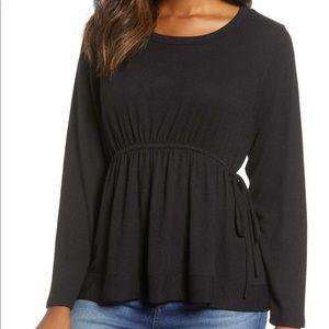 🌟Caslon Cozy tie waist peplum top in black. NWT